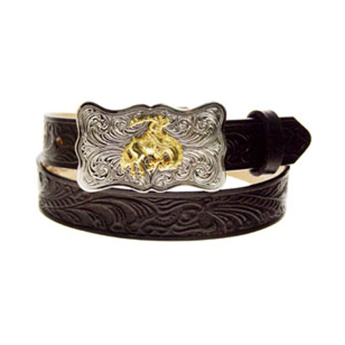 Justin Kid's Black Embossed Cowhide Western Belt