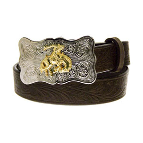 Justin Kid's Brown Embossed Cowhide Western Belt