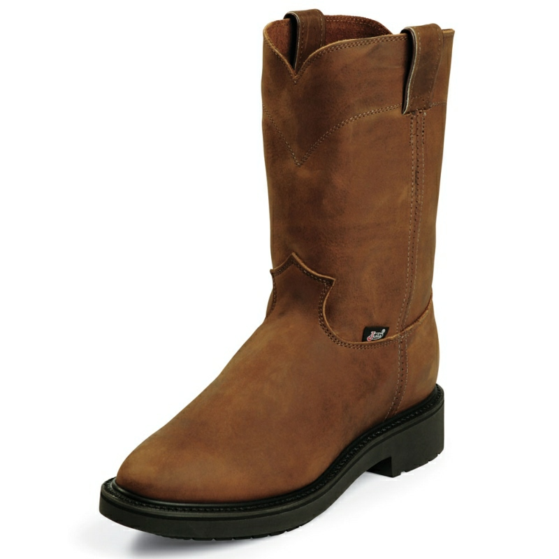 JUSTIN MEN'S AGED BARK ROUND TOE WORK BOOTS