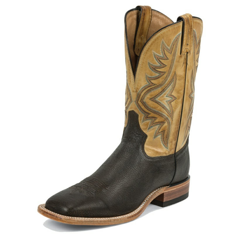 TONY LAMA MEN'S CHOCOLATE GOAT SQUARE TOE BOOTS