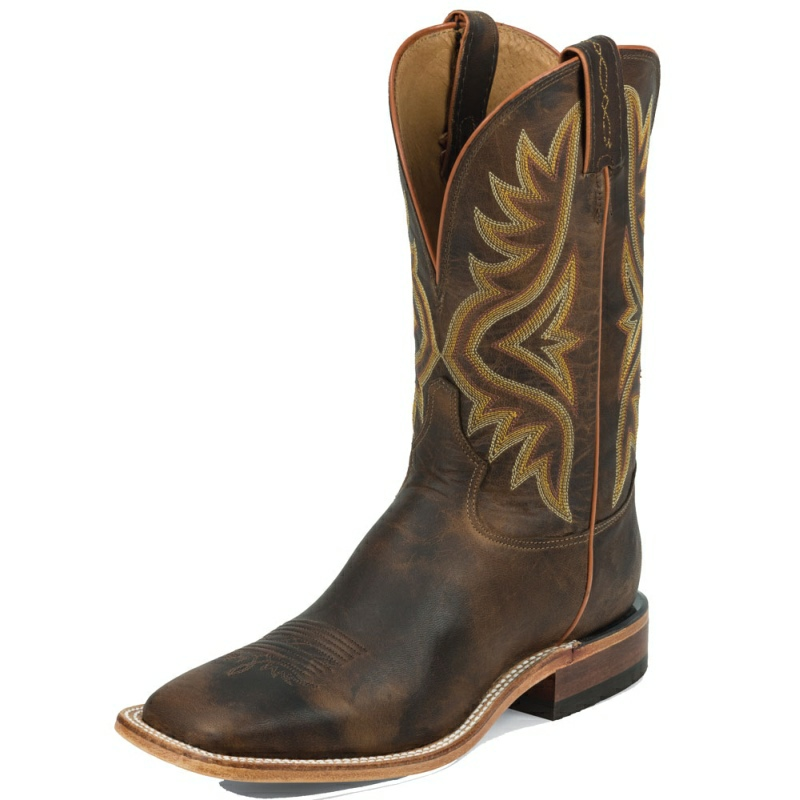 TONY LAMA MEN'S TAN WORN GOAT WIDE SQUARE TOE COWBOY BOOTS