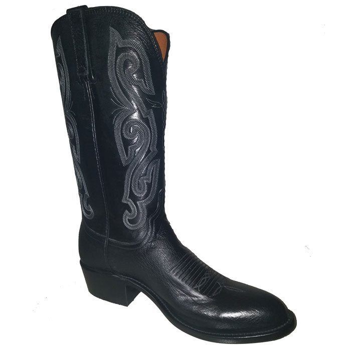 Lucchese Men's Black Smooth Ostrich Medium Round Toe Western Boots