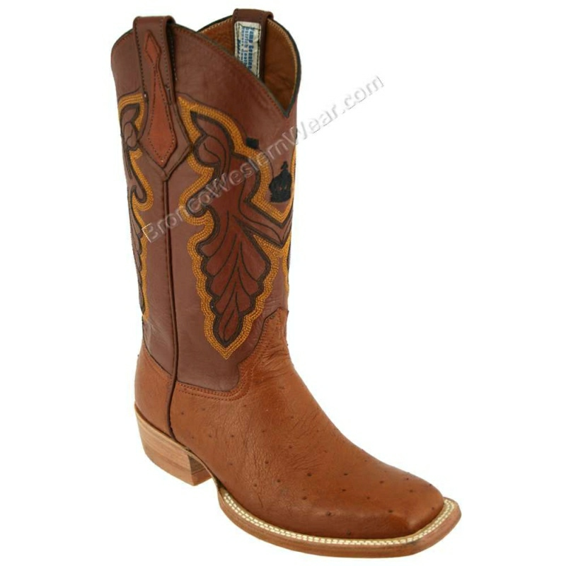 Bronco Boots Men's Smooth Ostrich Cognac Wide Square Toe