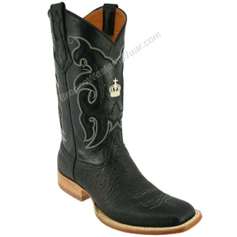 Bronco Boots Men's Smooth Ostrich Black Wide Square Toe