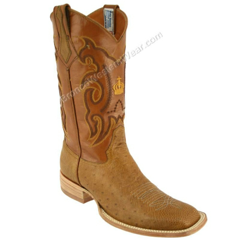 Bronco Boots Men's Smooth Ostrich Rustic Paja Wide Square Toe