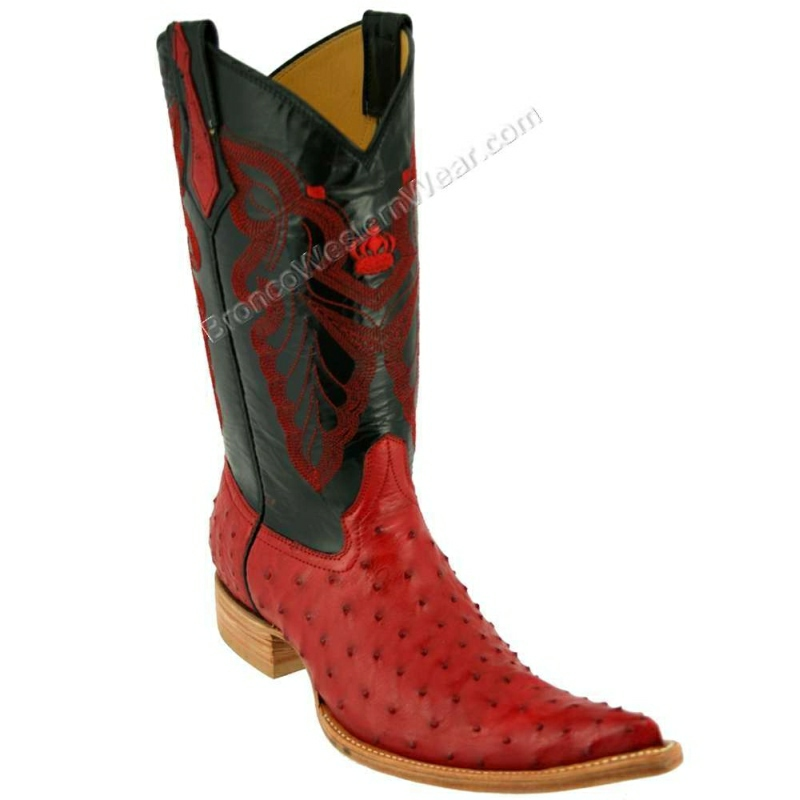 Bronco Boots Full Quill Ostrich Red Pointd 3XLToe