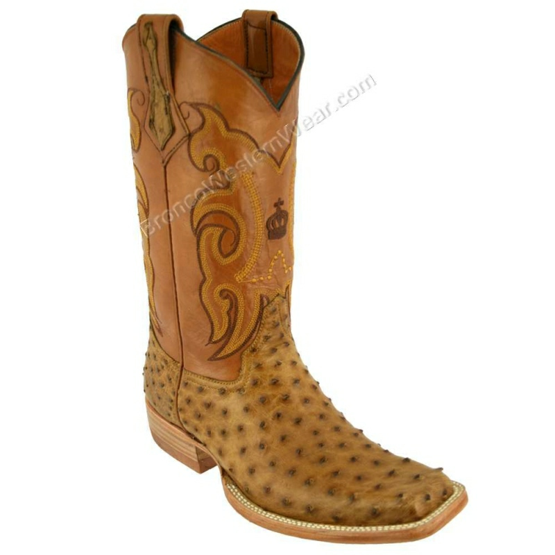 Bronco Boots Men's Full Quill Ostrich Paja Rustic
