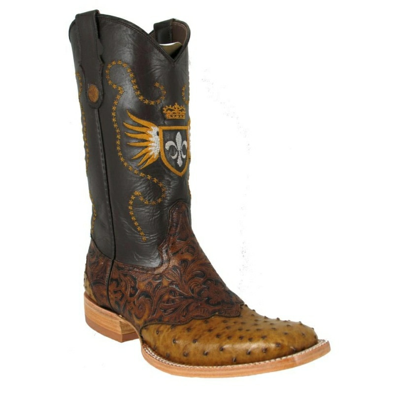 Bronco Boots Men's Rustic Paja Ostrich with Brown Tooling Leather Square Toe