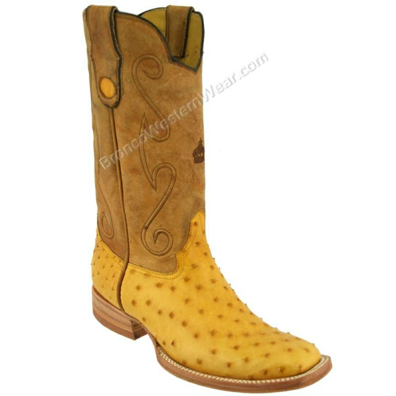 Bronco Boots Men's Full Quill Ostrich Buttercup Wide Square Toe
