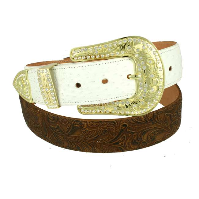 White Ostrich with Brown Tooled Leather 1 1/2