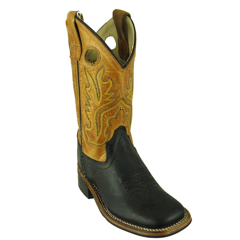 Old West Kids' Black Leather Square Toe Western Boots