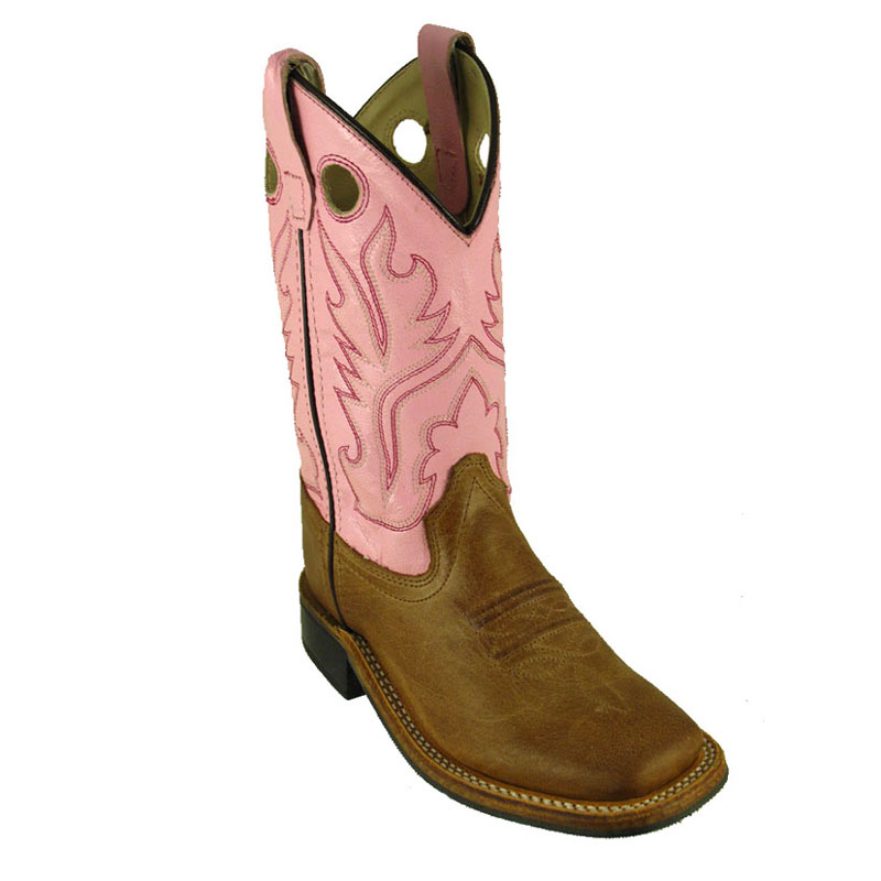 Old West Kids' Tan Leather Square Toe Western Boots