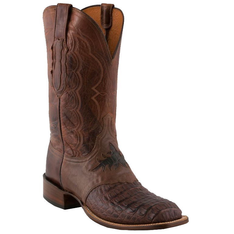 Lucchese Men's with Diego Inlay Saddle Vamp Square Toe Cowboy Boots