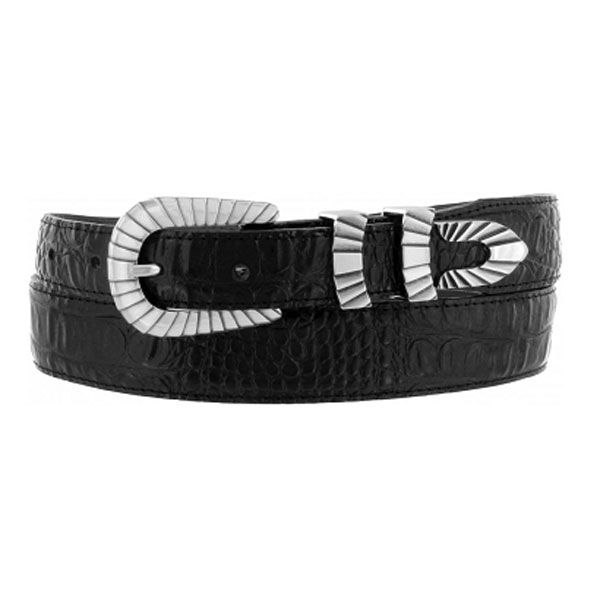 "Justin Black Crocodile Print 1 3/8"" Tapered down to 1"" Belt"