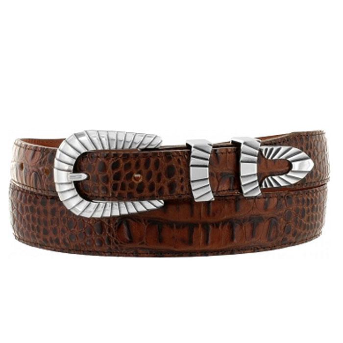 "Justin Brown Crocodile Print 1 3/8"" Tapered down to 1"" Belt"