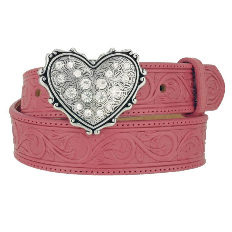 Justin Kid's Pink Heart Western Belt