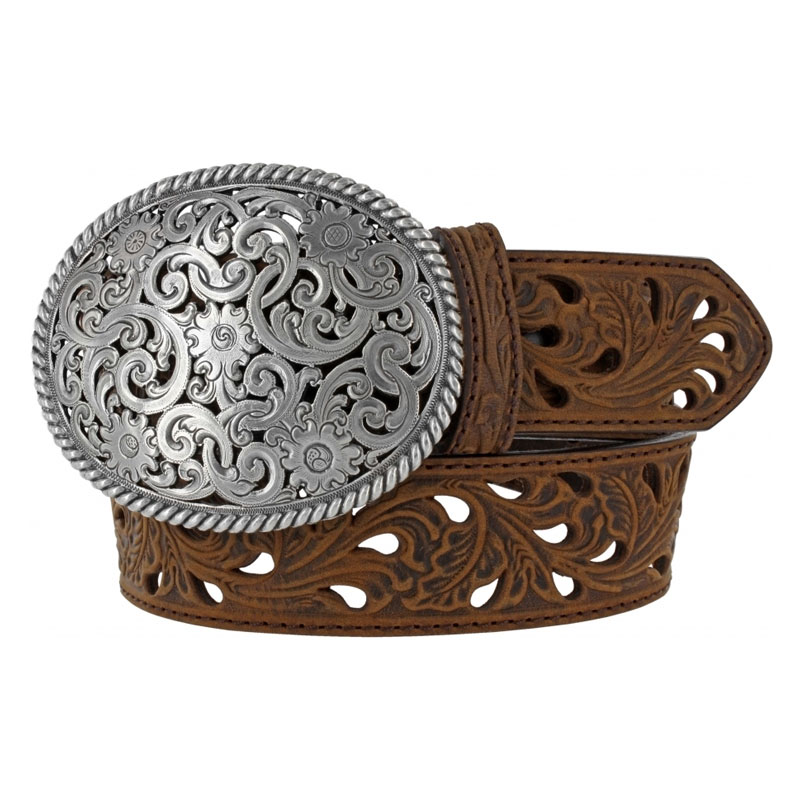 Tony Lama Ladies Bark Filigree Trophy Western Belt