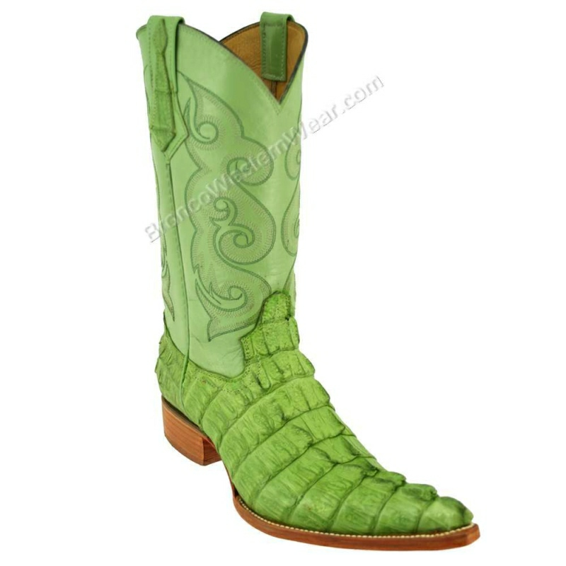 Bronco Boots Men's Pistachio Tail Crocodile Caiman 4XL Toe Boots