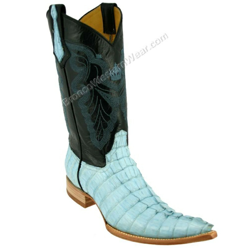 Bronco Boots Men's B. Blue Tail Crocodile Caiman Pointed 5XL Toe Boots