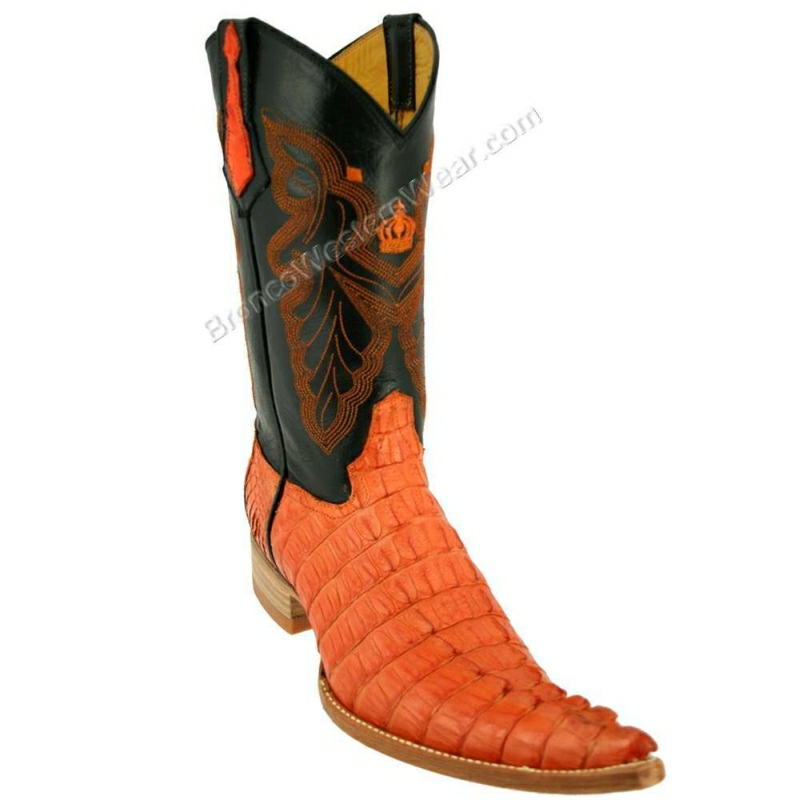 Bronco Boots Men's Orange Tail Crocodile Caiman Pointed 6XL Toe Boots
