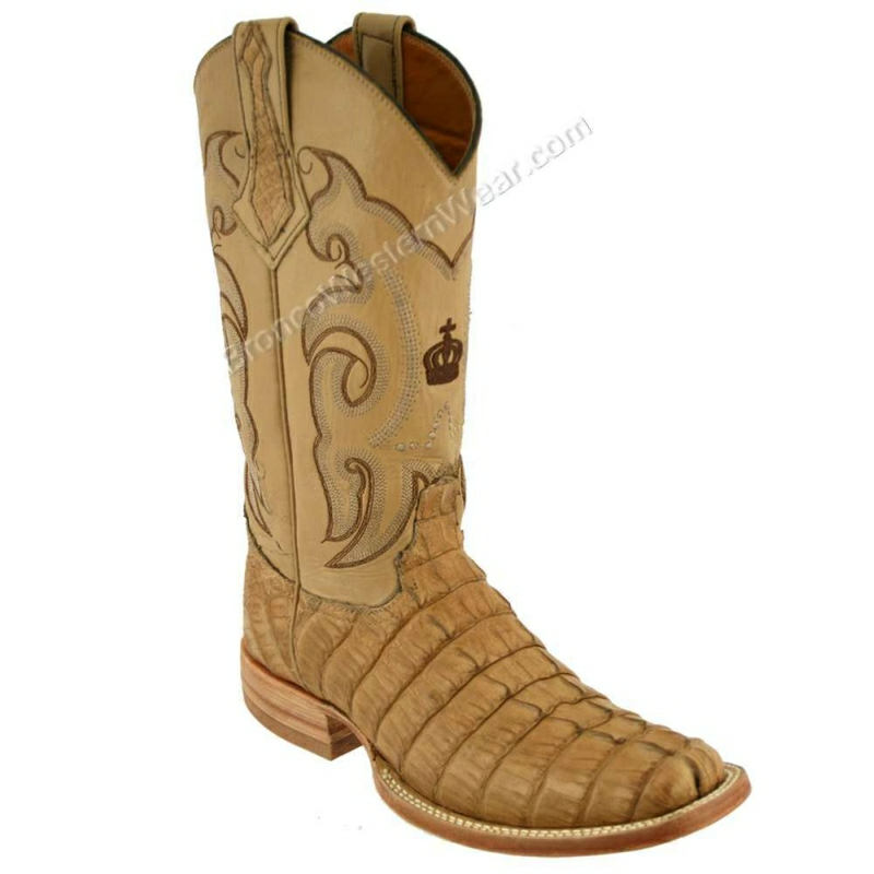 Bronco Boots Men's Oryx Tail Caiman Crocodile Narrow Square Toe Boots