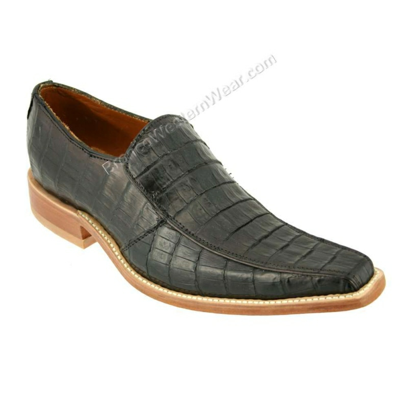 Bronco Shoes Men's Black Belly Crocodile Caiman Narrow Squre Toe