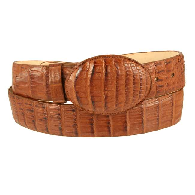 Bronco Cognac Genuine Caiman Crocodile Belly 1 1/2