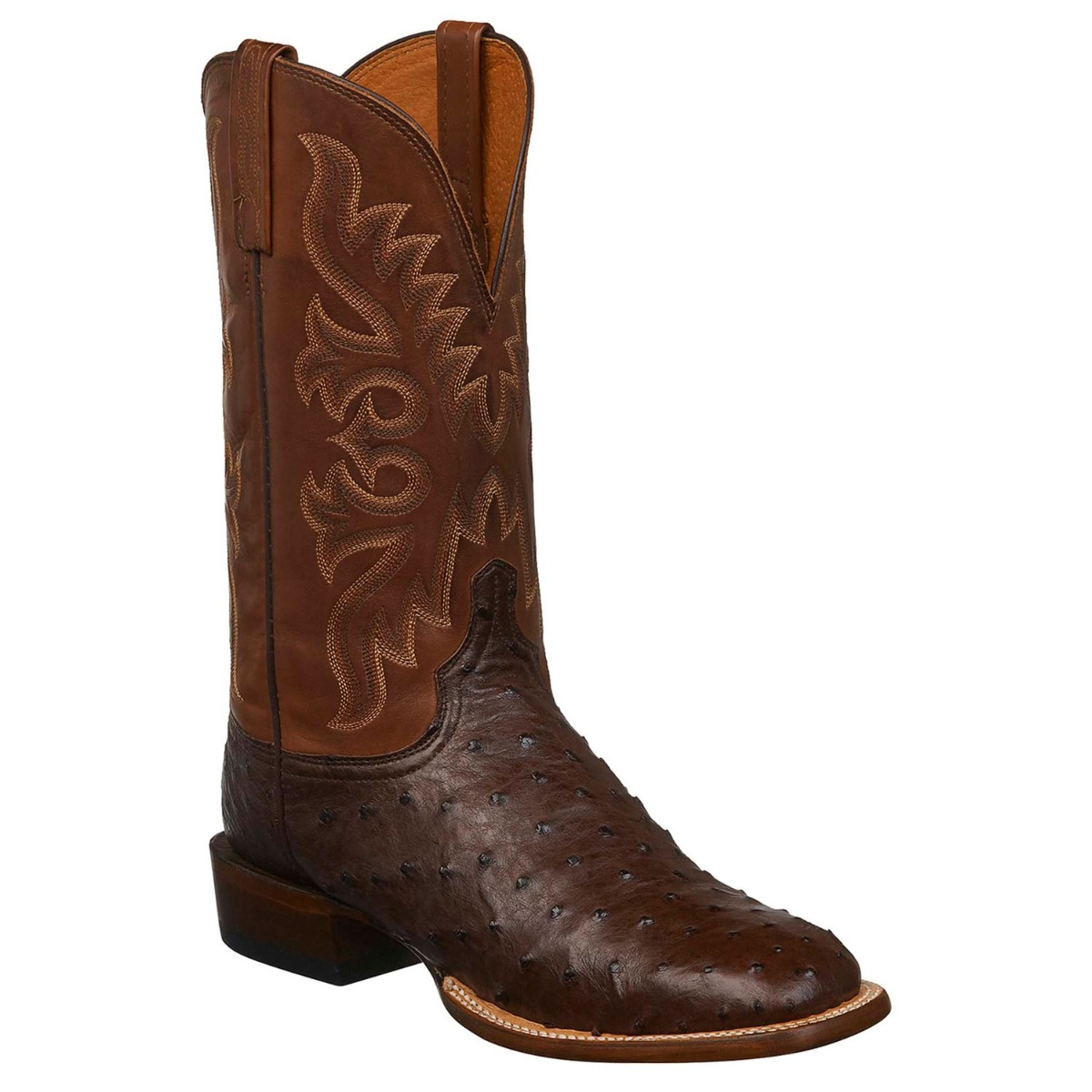 Lucchese Men's Sienna Ostrich Square Toe Cowboy Boots