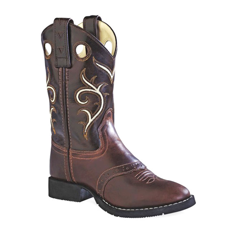 Old West Children Brown Leather Round Toe Boots