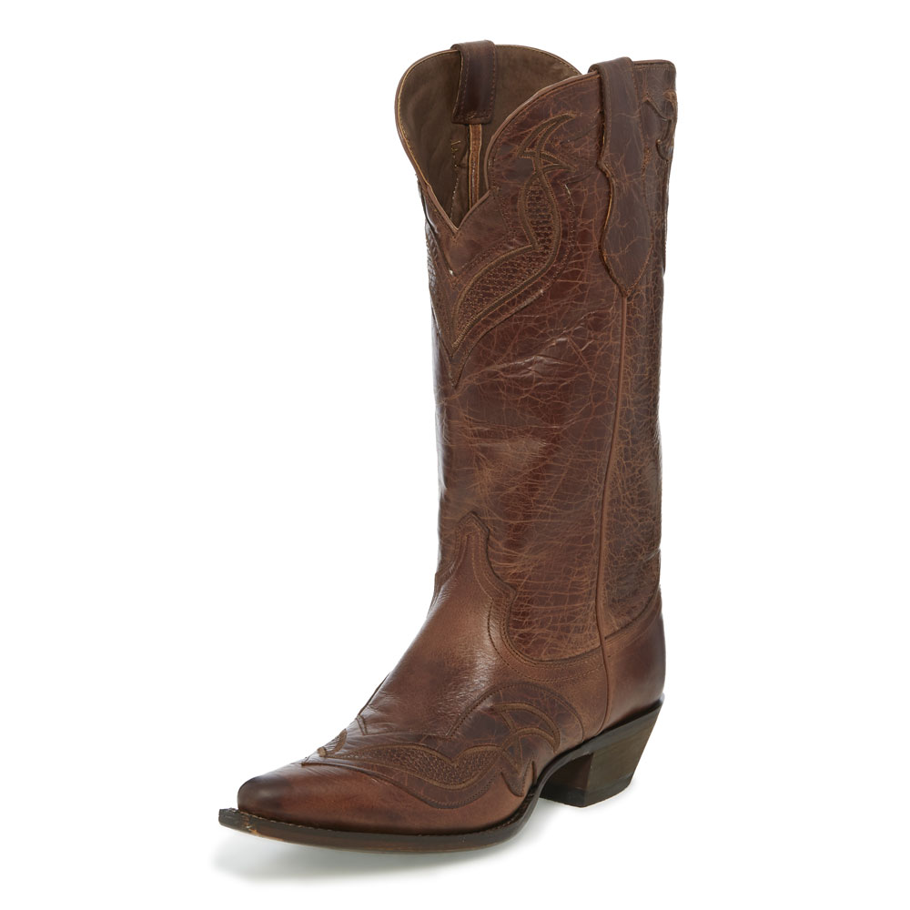 JUSTIN WOMEN'S MAPLE COWHIDE SNIP TOE WESTERN BOOTS