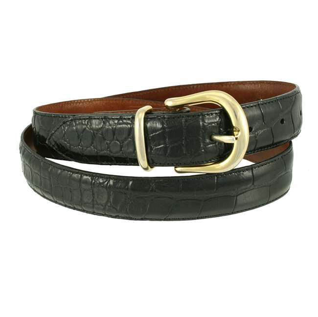 Bronco Belts Black American Alligator Dress Belt 1 1/4