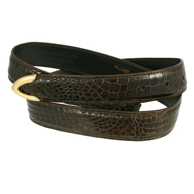 Bronco Belts Brown American Alligator Dress Belt 1 1/4