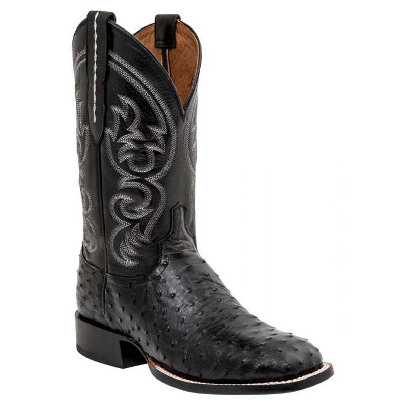 Lucchese Men's Black Ostrich Square Toe Cowboy Boots
