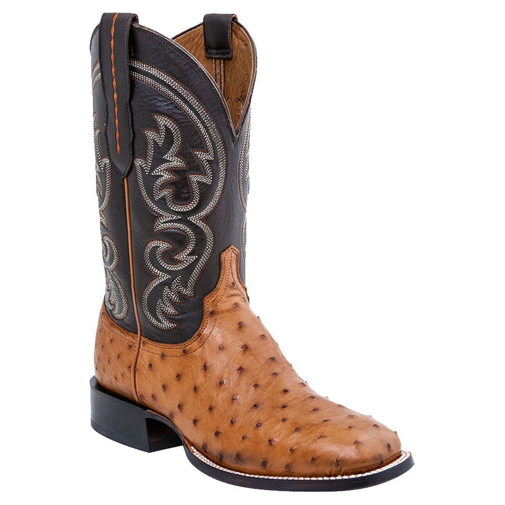 Lucchese Men's Tan Ostrich Square Toe Cowboy Boots