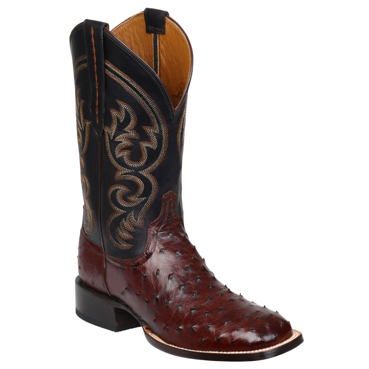 Lucchese Men's Sienna Full Quill Ostrich Square Toe Cowboy Boots