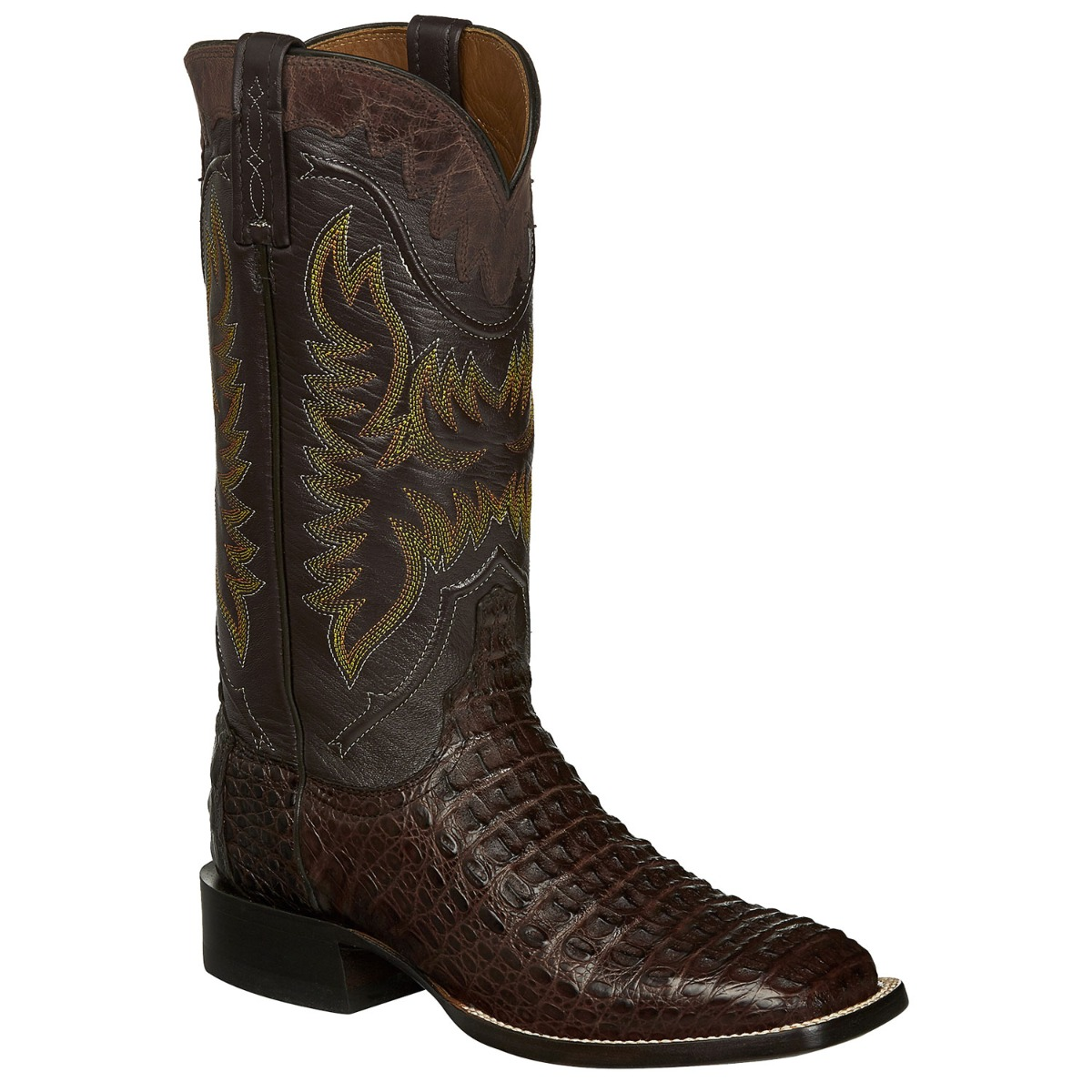 Lucchese Men's Barrel Brown Crocodile Caiman Hornback Square Toe Cowboy Boots