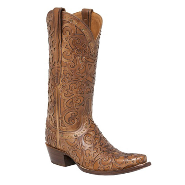 Lucchese Women's Tan Calf Snip Toe Western Boots