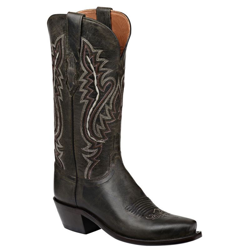 Lucchese Women's Anthracite Goat Narrow Square Toe Western Boots