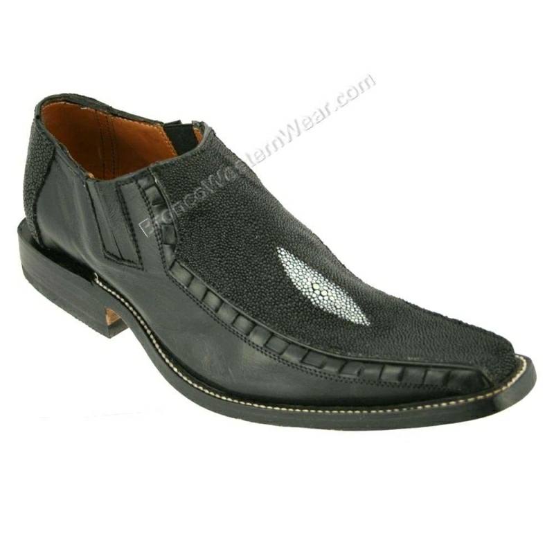 Bronco Shoes Men's Black Stingray & Cowhide Narrow Squre Toe