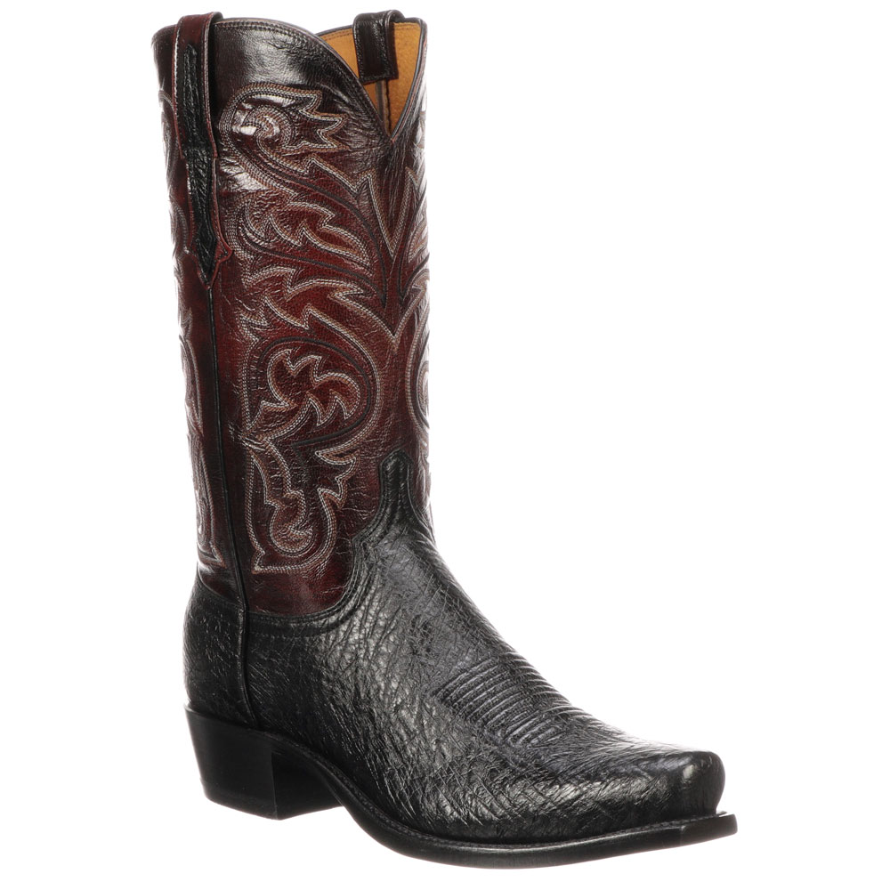 Lucchese Men's Black Smooth Ostrich Narrow Square Toe Cowboy Boots