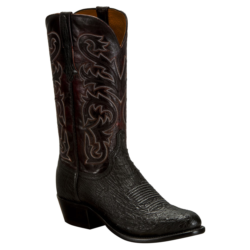 Lucchese Men's Black Smooth Ostrich Medium Round Toe Cowboy Boots