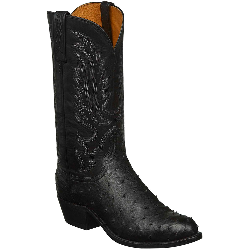Lucchese Men's Black Ostrich Medium Round Toe Boots