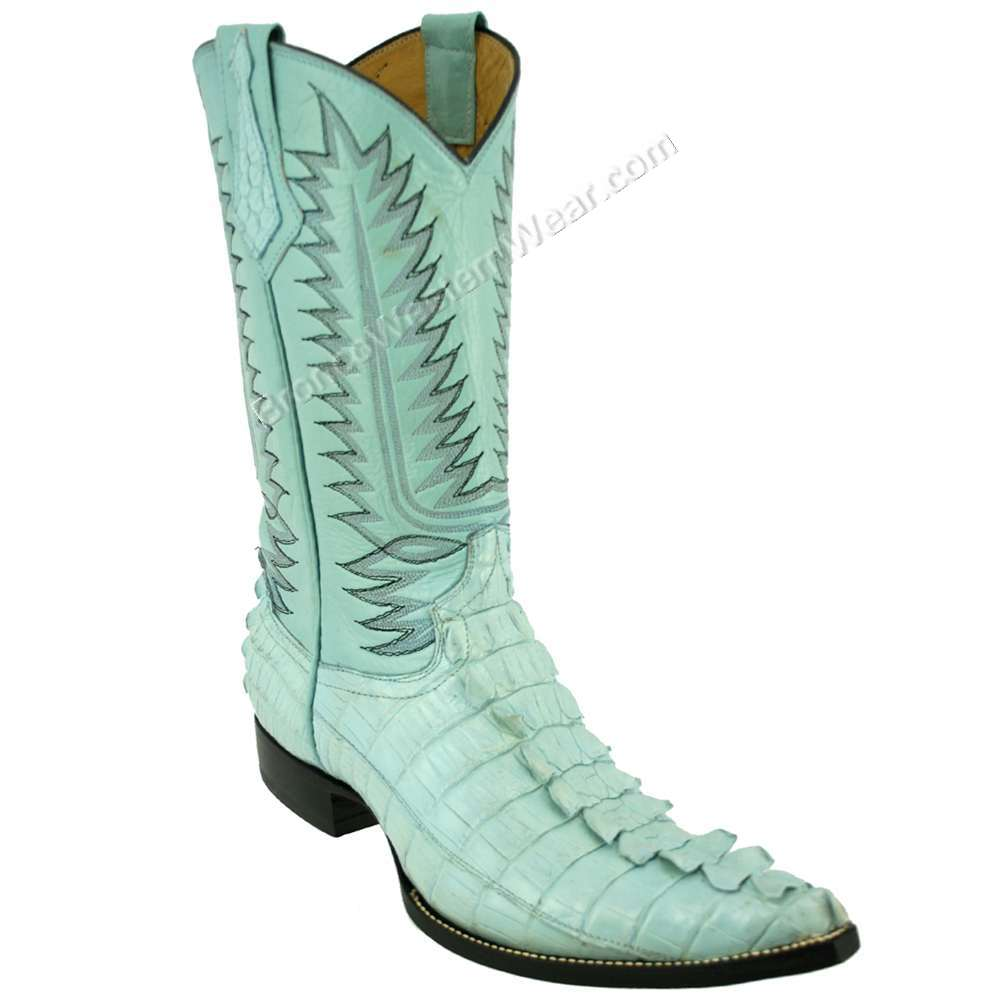 Bronco Men's Baby Blue Nile Crocodile Tail Pointed Toe Boots