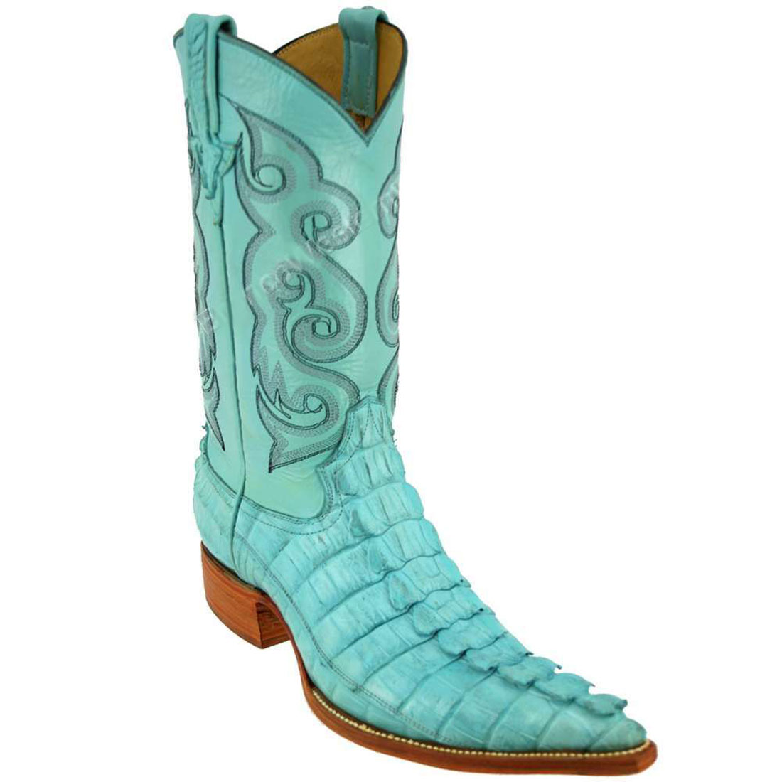 Bronco Men's Pastel Blue Nile Crocodile Tail Pointed Toe Boots