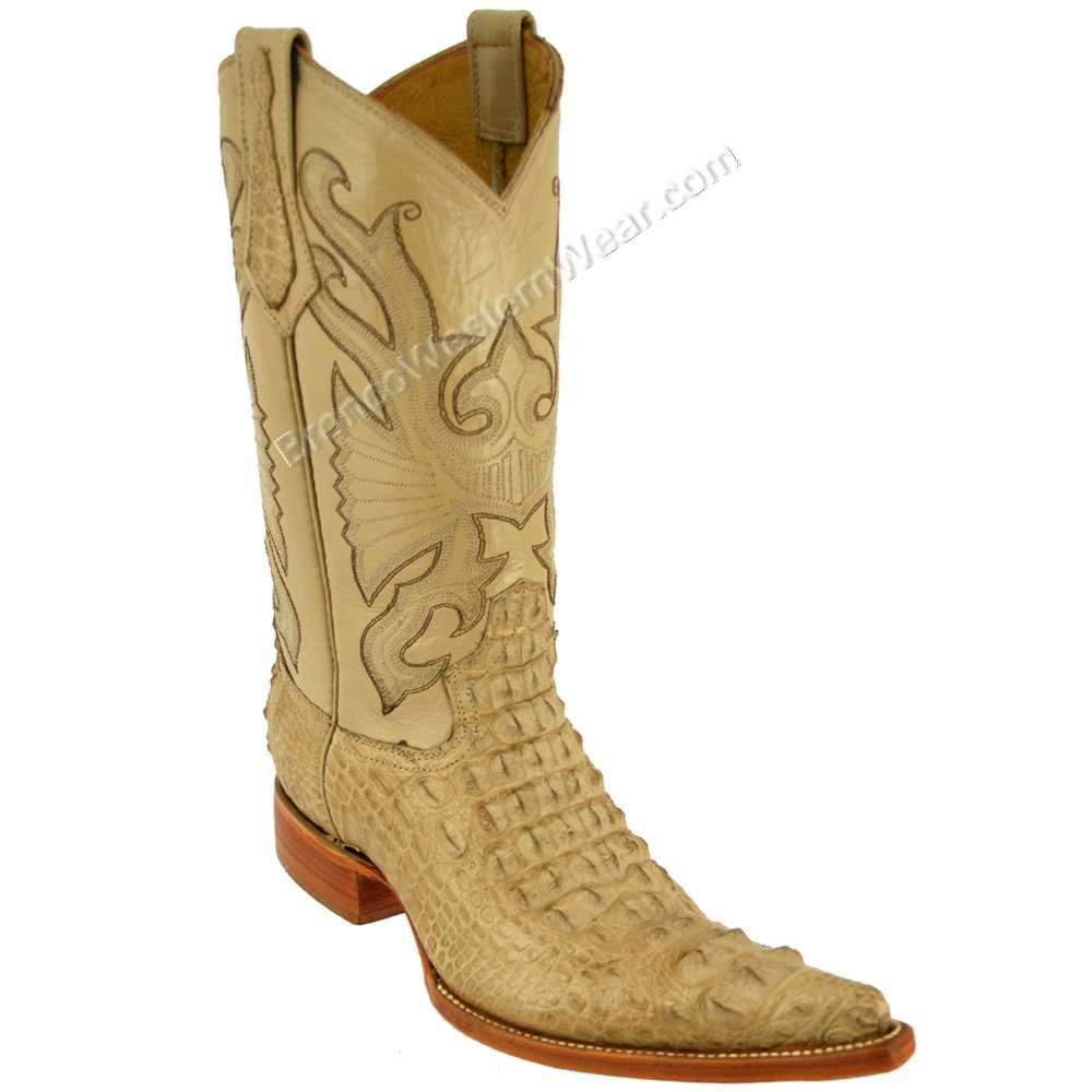 Bronco Men's Sand Nile Crocodile Hornback Pointed Toe Boots