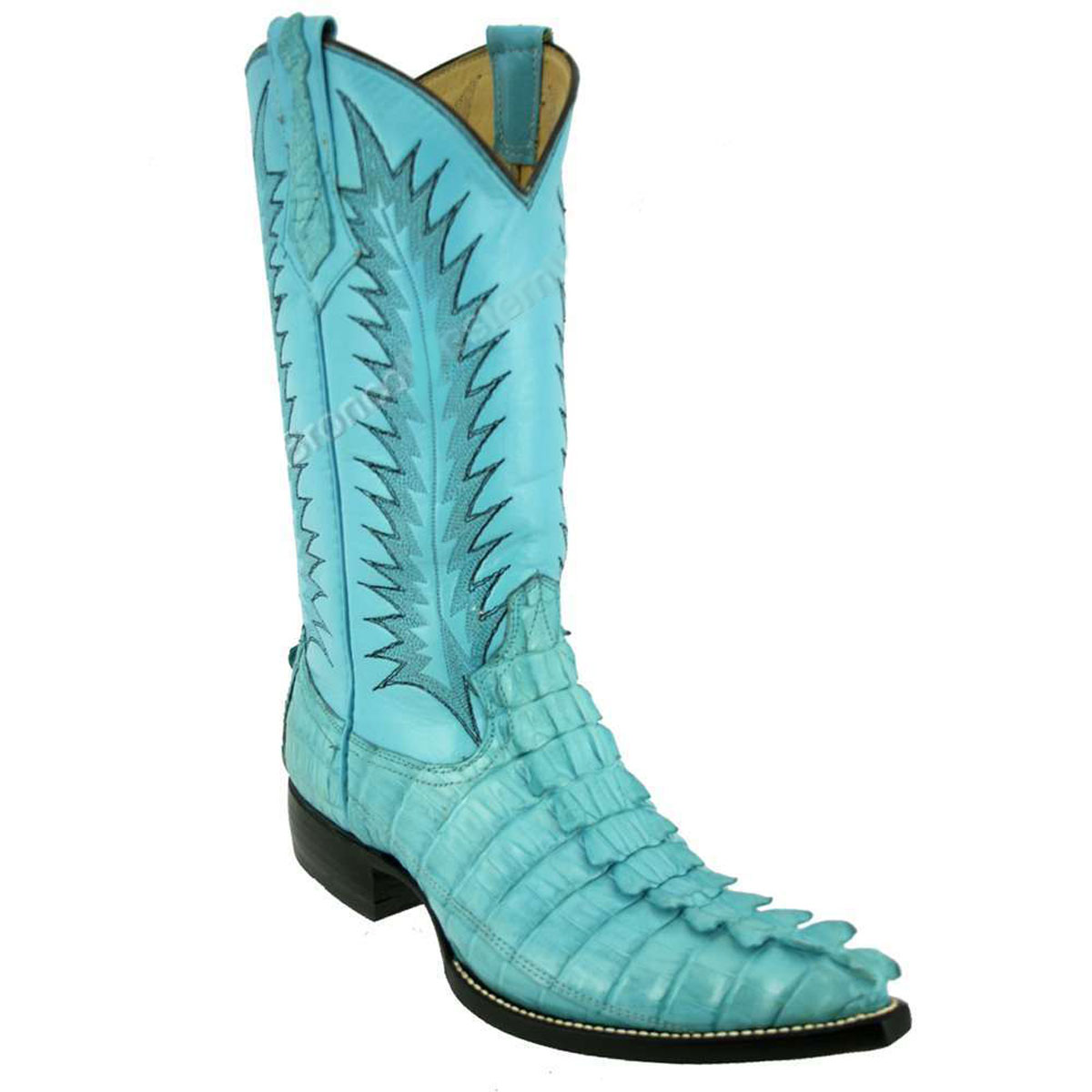 Bronco Men's Turquoise Blue Nile Crocodile Tail Pointed Toe