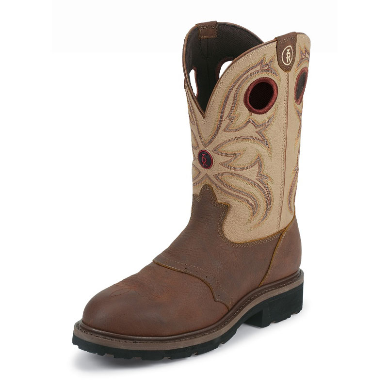 TONY LAMA MEN'S SIENNA GRIZZLY LEATHER SQUARE TOE WORK BOOTS