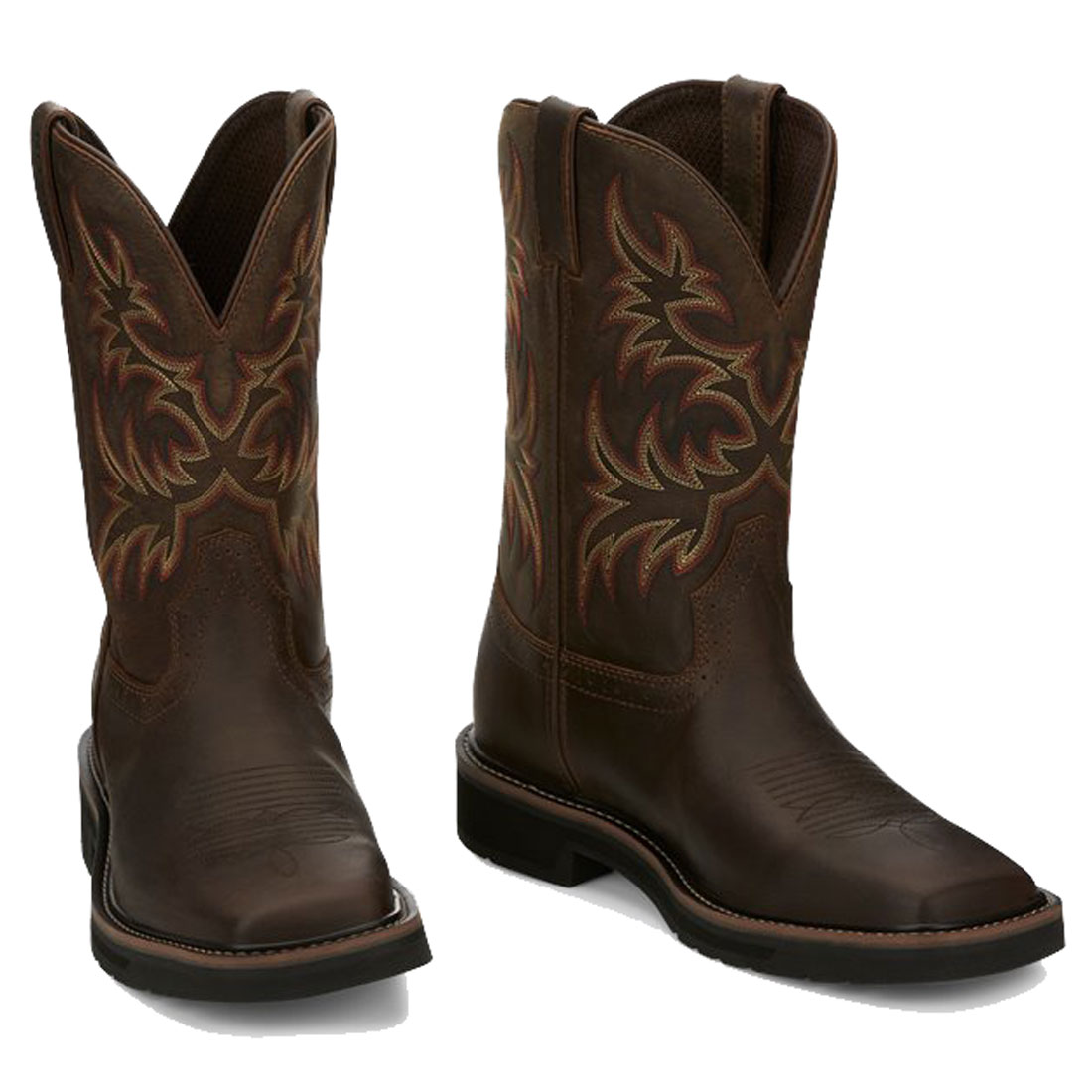 JUSTIN SE4681 MEN'S RUGGED TAN COWHIDE SQUARE TOE WORK BOOTS