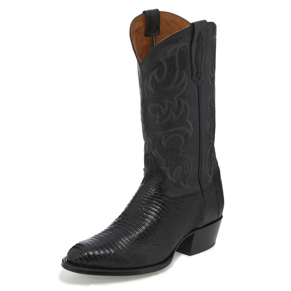 TONY LAMA MEN'S BLACK TEJU LIZARD MEDIUM ROUND TOE BOOTS