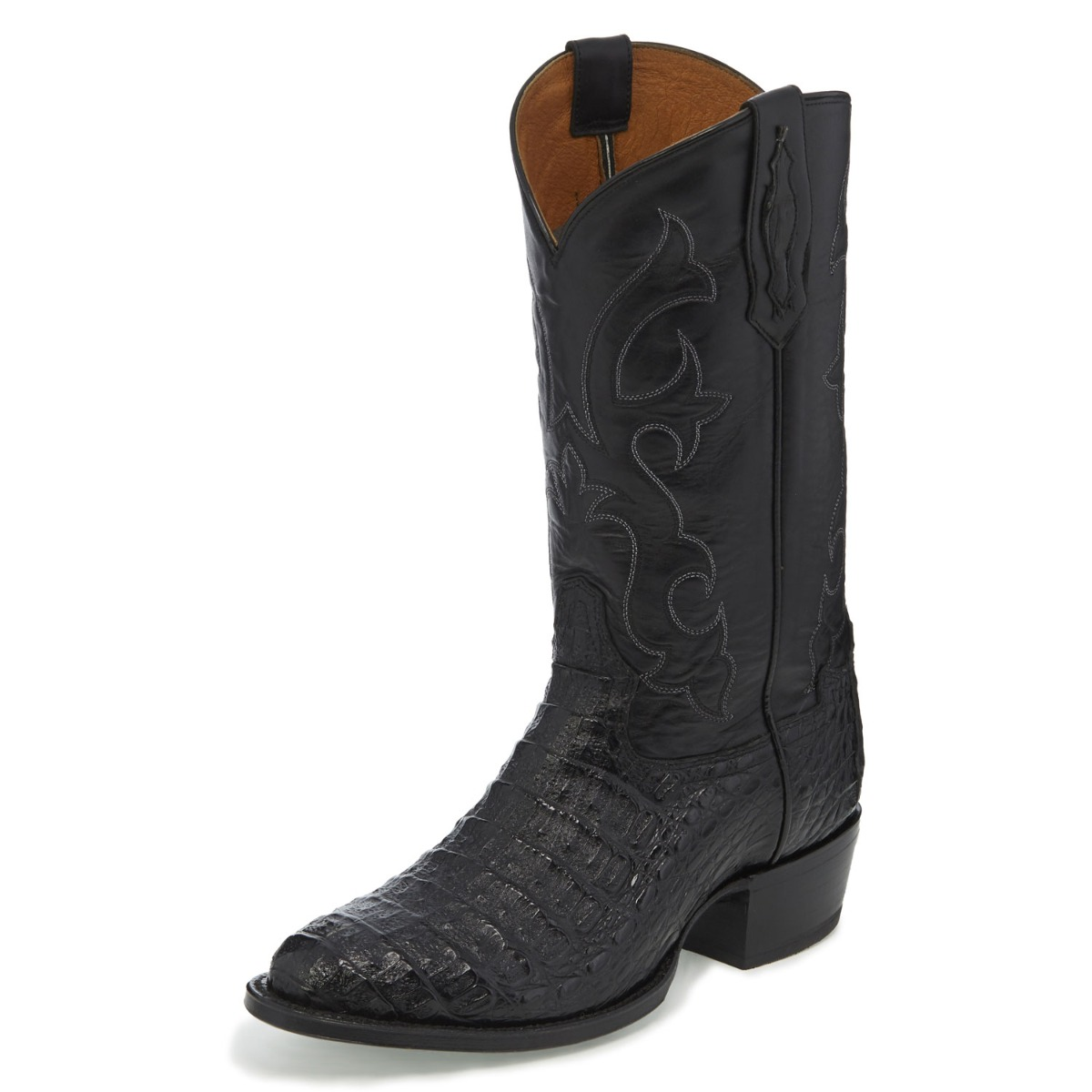 TONY LAMA MEN'S BLACK HORNBACK CAIMAN CROCODILE MEDIUM ROUND TOE BOOTS